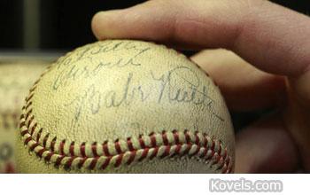 signed Babe Ruth home run baseball