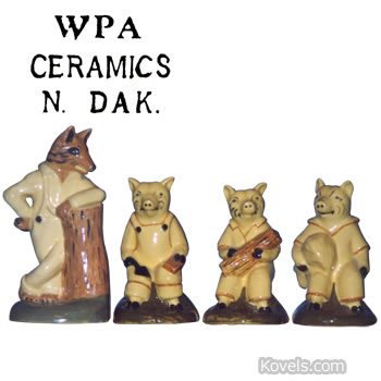 three little pigs big bad wolf wpa figurines