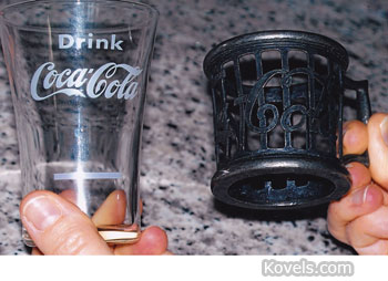 coca-cola glass and holder