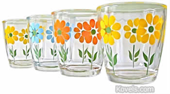 sour cream glasses with flowers