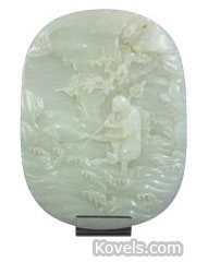 jade carved oval chinese plaque