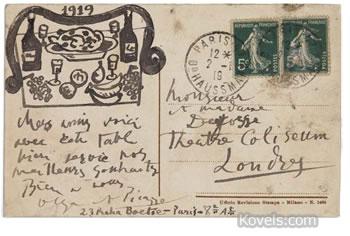 1919 picasso postcard