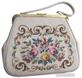 1950 embroidered hand bag purse