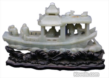 jadeite chinese carved ship