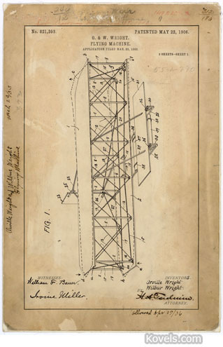 wright brothers flying maching patent drawing