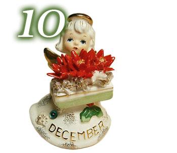Lefton December Birthday Angel Figurine with Poinsettias