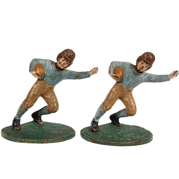 Bookends, football player, cast iron