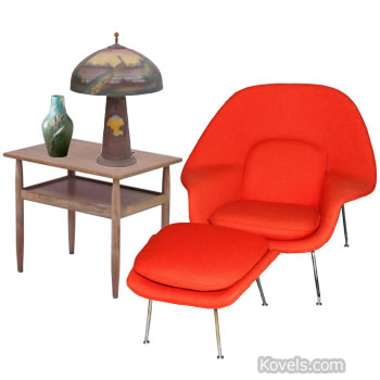 Chair, table, lamp composition