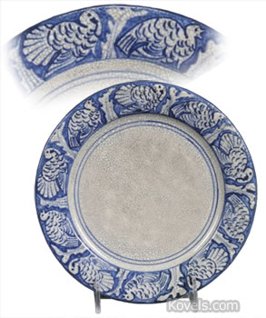 Dedham Pottery plate with turkey border