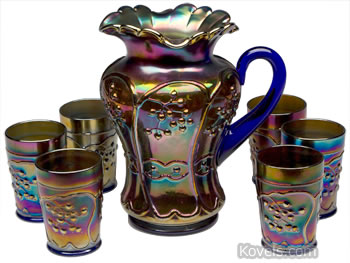 Fenton Blueberry carnival glass water set