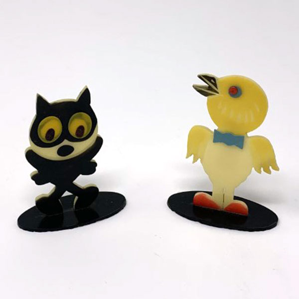 vintage celluloid cat chick bird placecard holders
