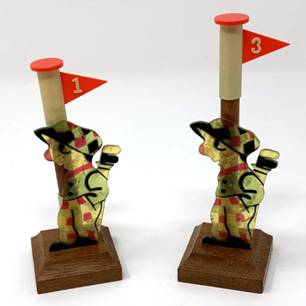 vintage celluloid golfers placecard holders