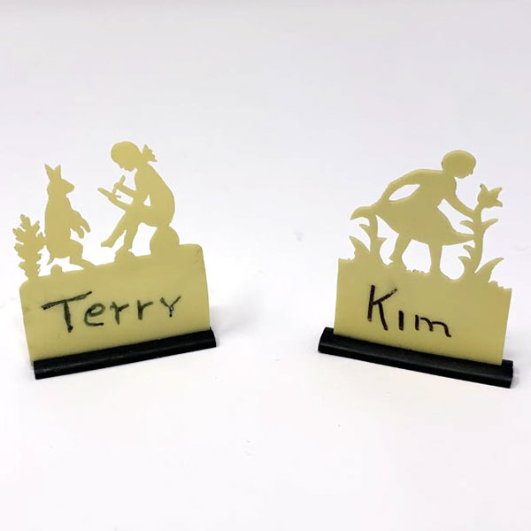 vintage vienna celluloid silhouette cutout children play placecard holders
