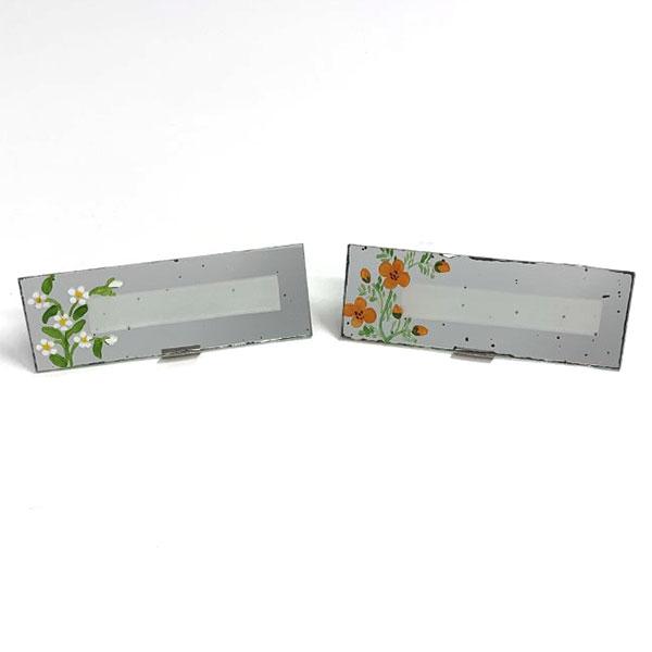 vintage painted flower mirror placecard holders