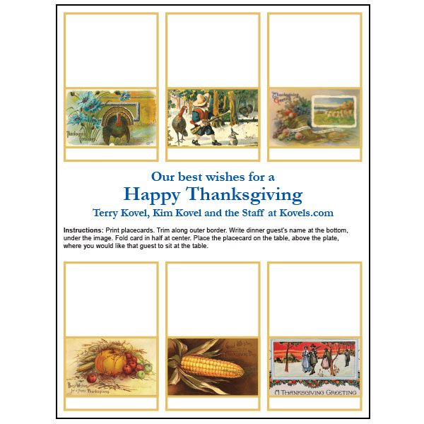 free thanksgiving place cards from kovels