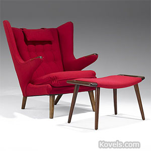 "Hans Wegner ""Papa Bear"" chair and ottoman"