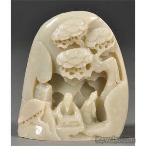 Jade boulder carving of two Immortals