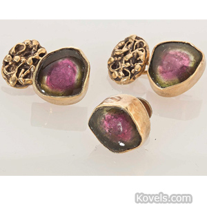 Pair of two-color tourmaline cufflinks and matching tie tack