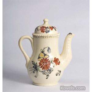 English creamware miniature coffeepot and cover