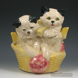 McCoy Two Kittens in a Basket cookie jar