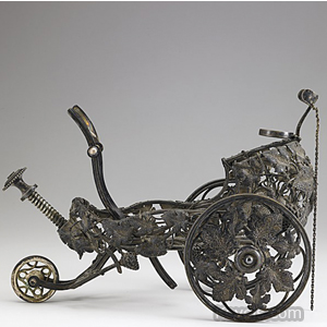 Christofle silver-plated mechanical wine trolley