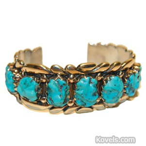 Annie Quam Navajo 14K gold and turquoise bracelet