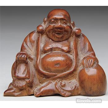 Boxwood netsuke, carving of laughing Buddha