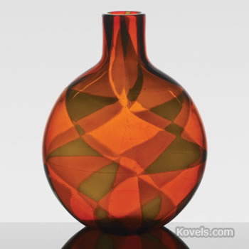 Ercole Barovier glass vase titled Intarsio (inlaid)
