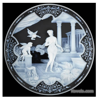 Cameo glass plaque by George and Thomas Woodall