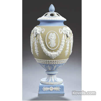 Wedgwood three-color jasper dip potpourri vase and cover