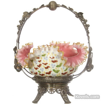 Pink and white cased glass bride's basket