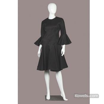 Balenciaga black linen cocktail dress