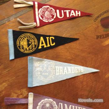 Vintage college pennants