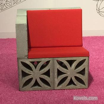 Cement block garden seat