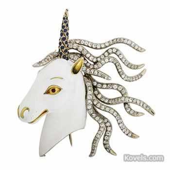 Unicorn pin, white gold, diamonds