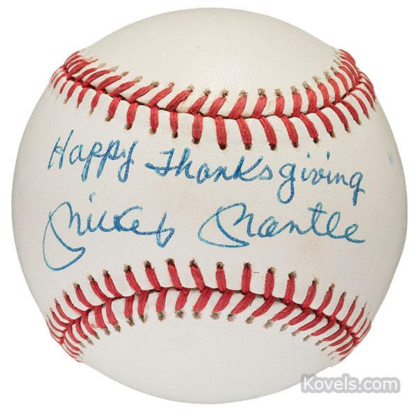 Autographed baseball -- Mickey Mantle