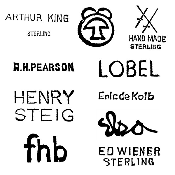 Marks used by modernist jewelers
