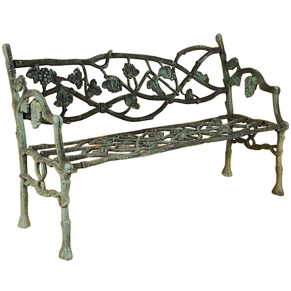 Cast iron faux bois garden bench