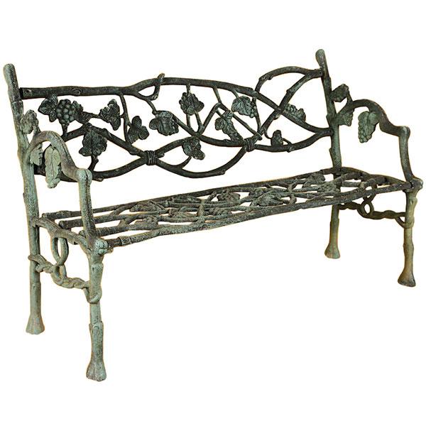 Cast iron faux bois garden bench