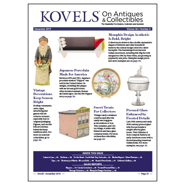 Kovels On Antiques & Collectibles December 2019 Newsletter Available