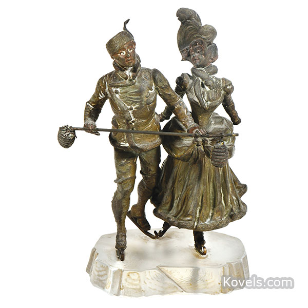Ice Skaters with Lanterns statue