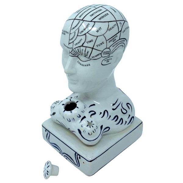 Phrenology head inkwell