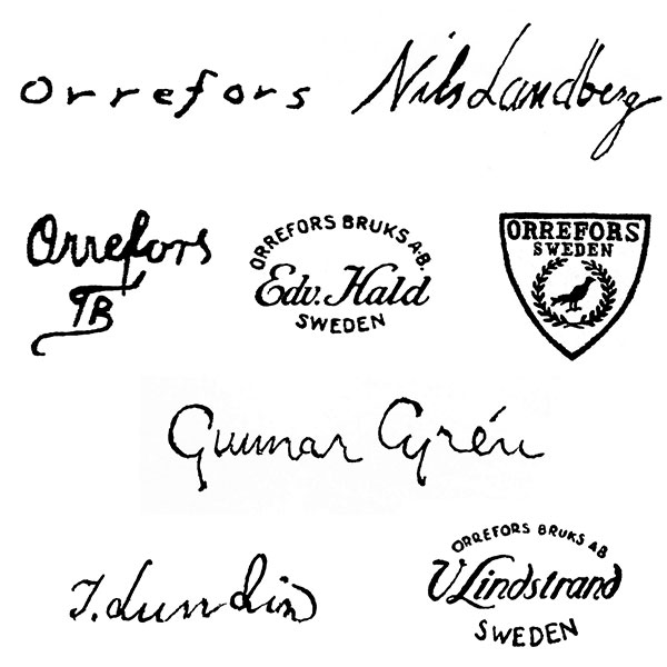 Marks used on Orrefors glass