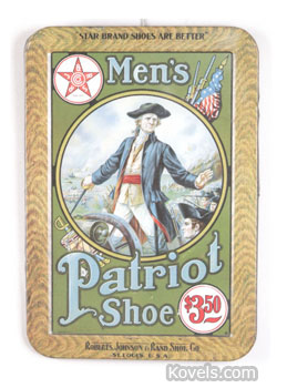 """Patriot Shoes used this sign showing Col. William Prescott of the American Revolutionary War. He fought at the Battle of Bunker Hill, where he is said to have uttered the memorable words, """" Don't shoot till you see the whites of their eyes."""" Notice the approaching British soldiers, the warships and the cannon. Roberts, Johnson & Rand Shoe Co. of St. Louis made Star Brand shoes. The sign brought $2,013 at a James Julia auction in Maine."""