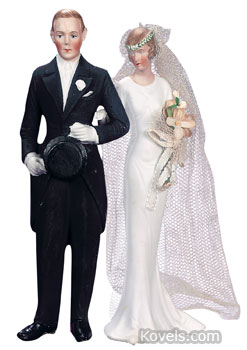 This bisque wedding cake topper is 7 inches high, taller than most. It was made about 1920 by Hertwig and Co., a German firm that also made dolls and dishes. Theriault's of Annapolis, Md., auctioned it last summer for $504.