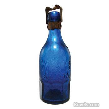 Cobalt blue mineral water bottle