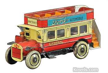 Toy tin double-decker bus
