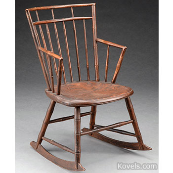 chair, rocking, arms, birdcage, windsor, painted