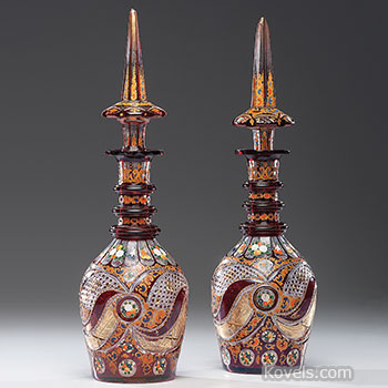 decanters, glass, bohemian, flashed