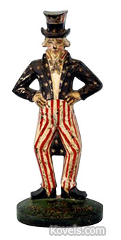 This iron Uncle Sam doorstop is 12 inches high. It's an expensive way to hold a door open today. It sold at Bertoia Auctions in Vineland, N.J., for $16,000.